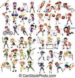niños, juego, vario, deportes
