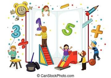 niños, juego, y, lectura