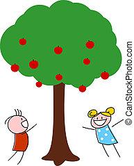 niños jugar, árbol, manzana, debajo