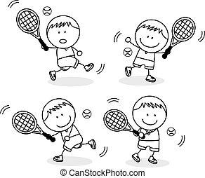 niños, jugar al bádminton