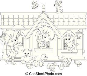 niños jugar, casa, juguete