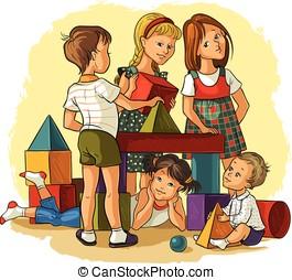 niños jugar, con, edificio, colorido, bloques