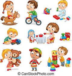 niños, jugar con, juguetes