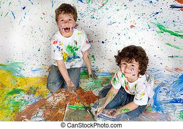 niños jugar, con, pintura