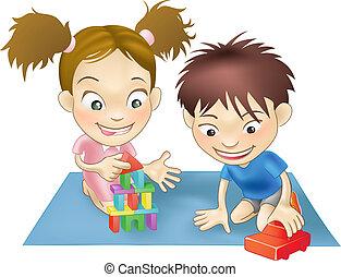 niños jugar, dos