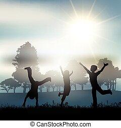 niños jugar, en el campo