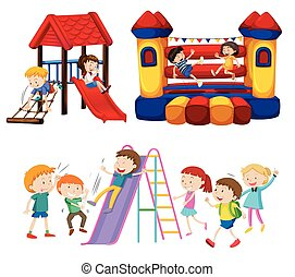 niños jugar, en, el, patio de recreo