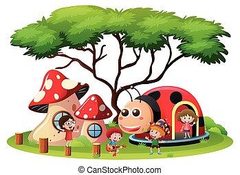 niños jugar, en, patio de recreo