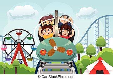 niños jugar, en, un, parque de atracciones