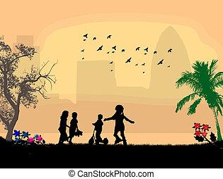niños jugar, en, un, parque de la ciudad