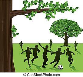 niños jugar, fútbol, en el estacionamiento