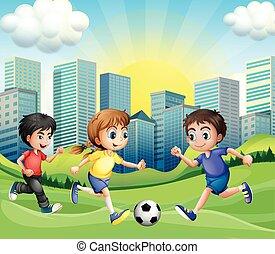 Futbol Ninos Jugar Calle Ilustracion Ninos Vector Caricatura