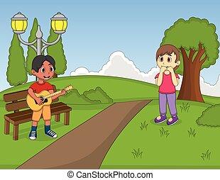 niños jugar, guitarra, en el parque