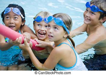 niños jugar, juntos, con, piscina, juguete