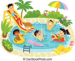 niños, jugar la piscina, natación
