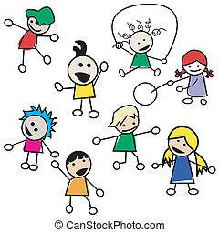 niños jugar, siluetas