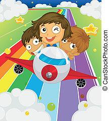 niños juguetones, tres, avión