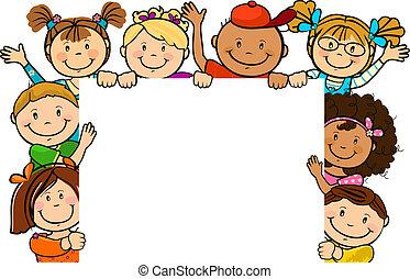 niños, juntos, con, cuadrado, hoja