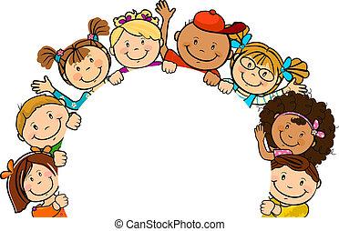 niños, juntos, con, papel, redondo