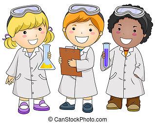 niños, laboratorio