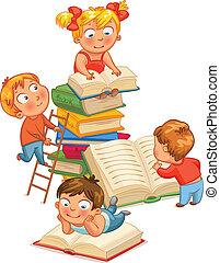niños, lectura, libros