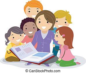 niños, libro cuentos