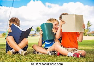 niños, libros, lectura