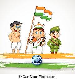 niños, luchador, libertad, imaginación, indio, vestido