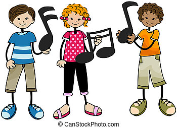 niños, música
