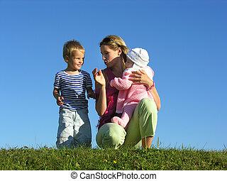 niños, madre