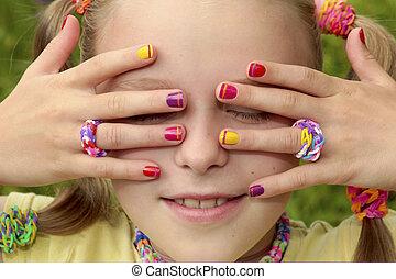 niños, manicura, multicolor