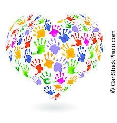 niños, manos, impresiones, señal