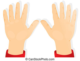 niños, manos, palmas, delantero