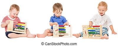 niños, matemáticas, reloj, niños, educación, aprendizaje, bebé, ábaco, juego, preescolar