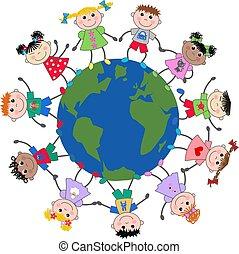 niños, mezclado étnico