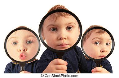 niños, mirar completamente, lupas, collage