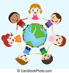 niños, multicultural, mano