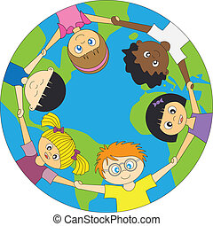 niños, mundo, alrededor
