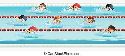 niños, natación, en, el, piscina