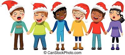 niños, navidad, sombrero, multicultural, aislado, mano, villancico, canto, navidad