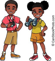 niños, negro, aventura