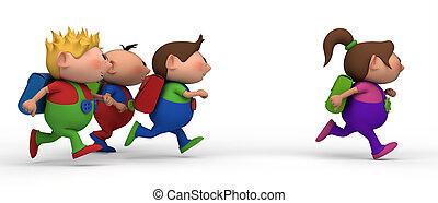 niños, niña, perseguir
