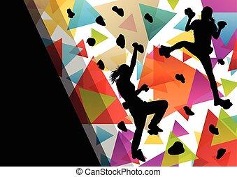 niños, niña, siluetas, en, pared que sube, en, activo, y,...