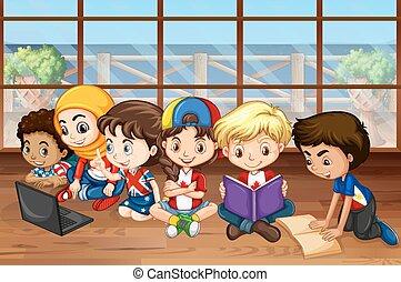 niños, niñas, clase, trabajando