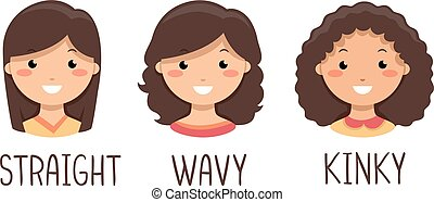 niños, niñas, pelo, tipos, ilustración