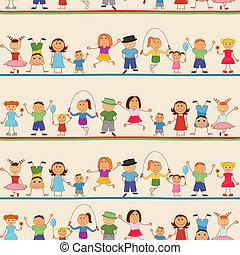 niños, niñas, seamless, patrón
