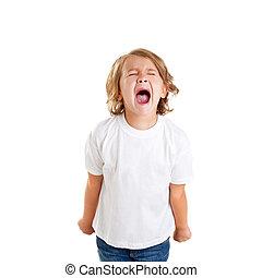 niños, niño, estridente, expresión, blanco