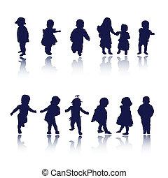 niños, niños, bebé, siluetas