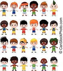 niños, niños, caricatura, colección