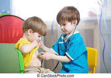 niños, niños, juego, doctor